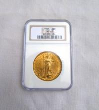 1925 $20 MS63 GOLD COIN DOUBLE EAGLE NGC