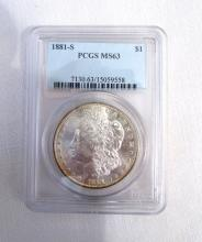 1881 S MORGAN SILVER DOLLAR COIN PCGS MS63 UNC