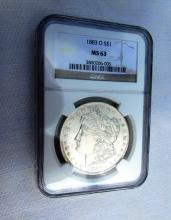 1883 O $1 MORGAN SILVER DOLLAR COIN MS63 NGC UNC