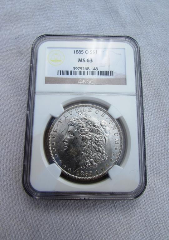 1885 O $1 MORGAN SILVER DOLLAR COIN MS63 NGC UNC