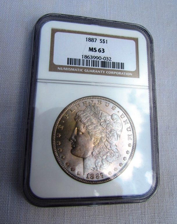 1887 MORGAN SILVER DOLLAR COIN MS63 NGC UNC $1