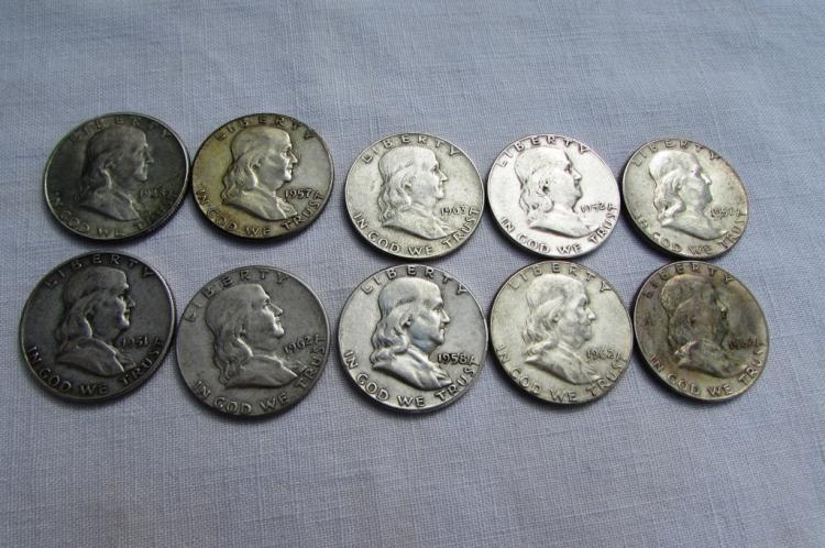 10 FRANKLIN HALF DOLLARS SILVER 1948-1963