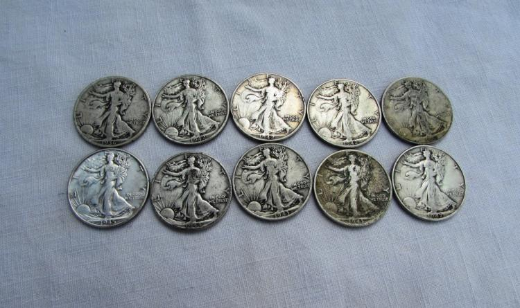 10 WALKING LIBERTY HALF DOLLARS SILVER 1936-1947