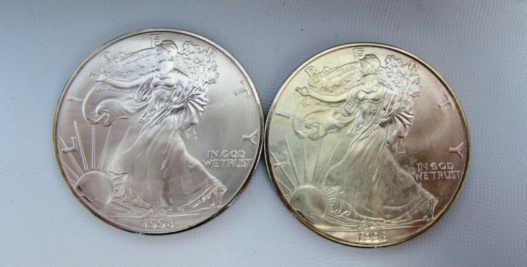 2 SILVER DOLLAR COINS AMERICAN EAGLE BU 1 OZ UNC