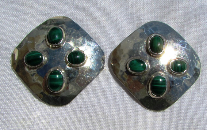 TAXCO MALACHITE STERLING SILVER EARRINGS 23.9 g