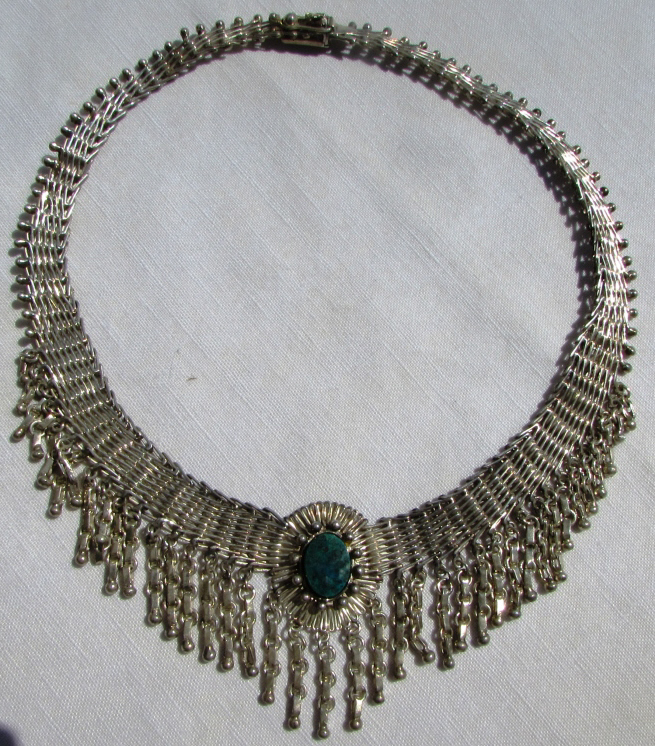HUGE TURQUOISE STERLING SILVER COLLAR NECKLACE 89G