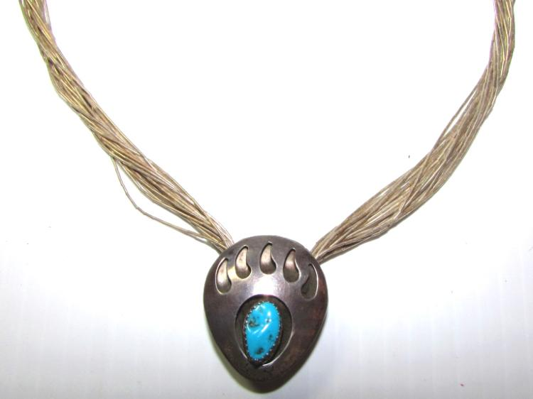 LIQUID SILVER BEAR CLAW TURQUOISE NECKLACE 28.4 g