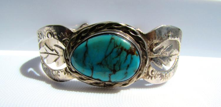 AGL TURQUOISE STERLING SILVER CUFF BRACELET