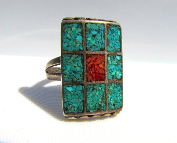 TURQUOISE MAN'S RING STERLING SILVER MOSAIC