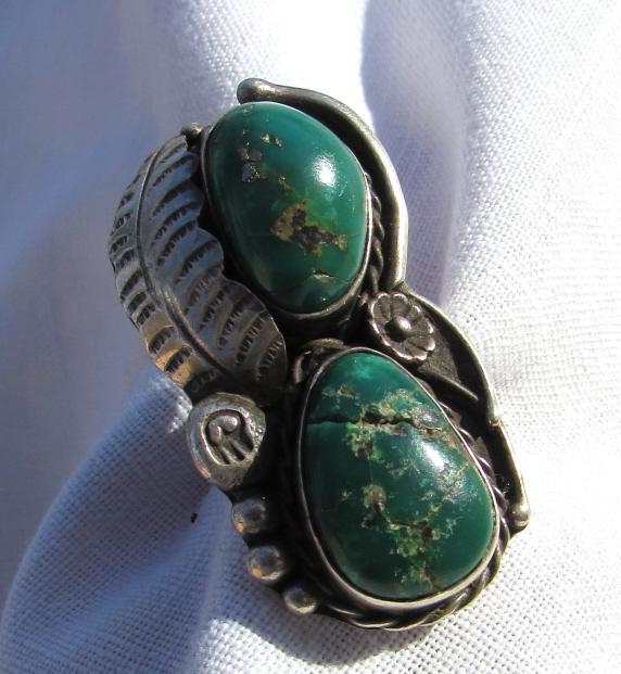 CHAVEZ NAVAJO TURQUOISE RING STERLING SILVER