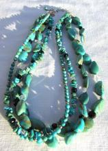 TURQUOISE STERLING SILVER NECKLACE 4 STRAND BEAD