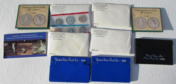 COIN LOT PROOF SETS SILVER NICKELS COMMEM MINT UNC