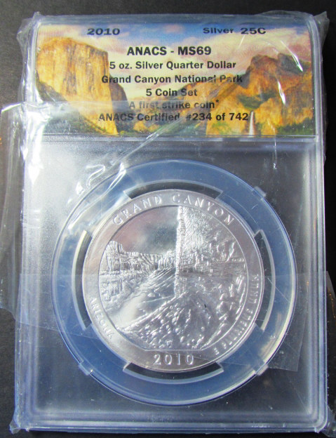 5 oz .999 SILVER QUARTER DOLLAR 2010 GRAND CANYON