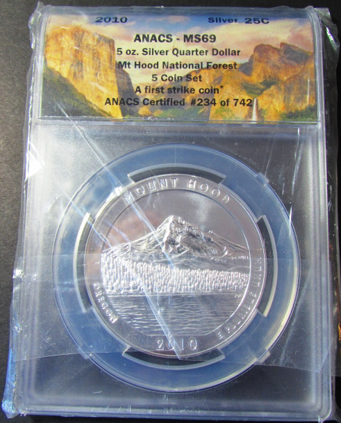 5 oz .999 SILVER QUARTER DOLLAR 2010 MT HOOD