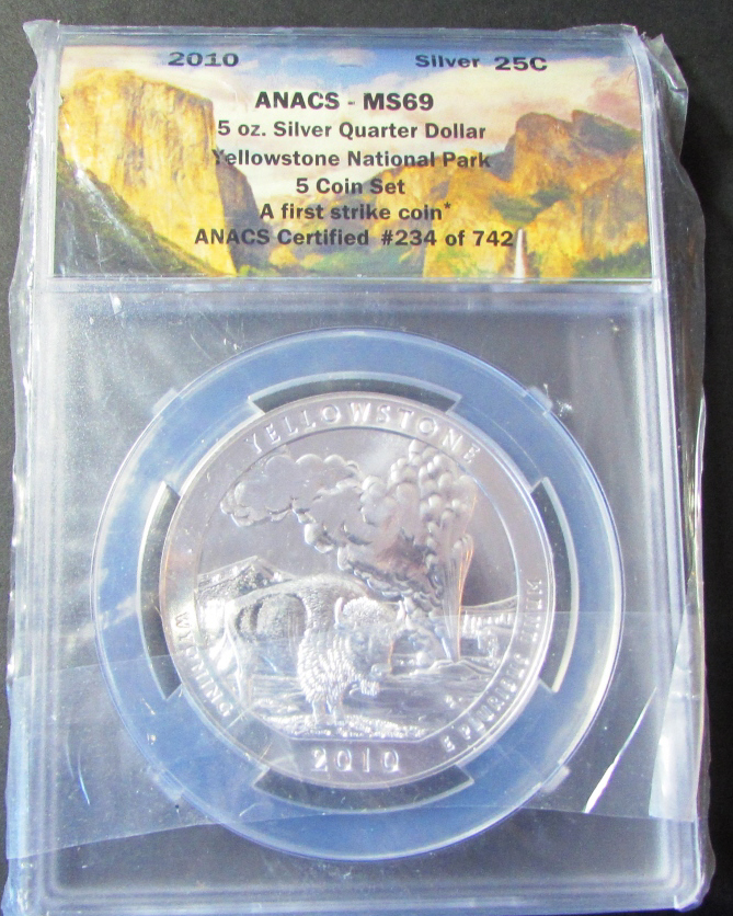 5 oz .999 SILVER QUARTER DOLLAR 2010 YELLOWSTONE