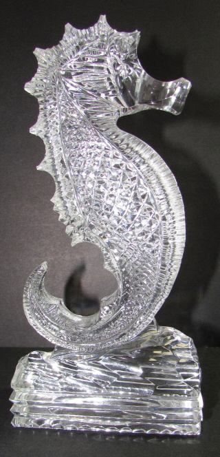 WATERFORD CRYSTAL SEAHORSE PAPERWEIGHT STATUE