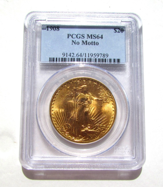 $20 GOLD COIN 1908 DOUBLE EAGLE MS64 PCGS NO MOTTO