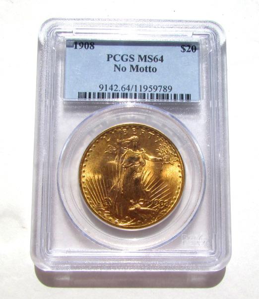 $20 GOLD COIN 1908 DOUBLE EAGLE MS64 PCGS NO MOTTO