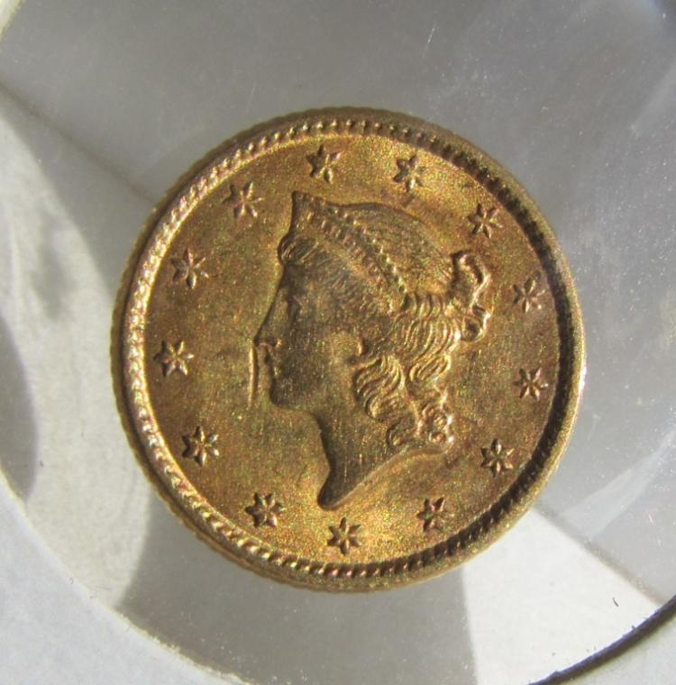 1853 $1 COIN LIBERTY HEAD CLOSED WREATH XF-AU