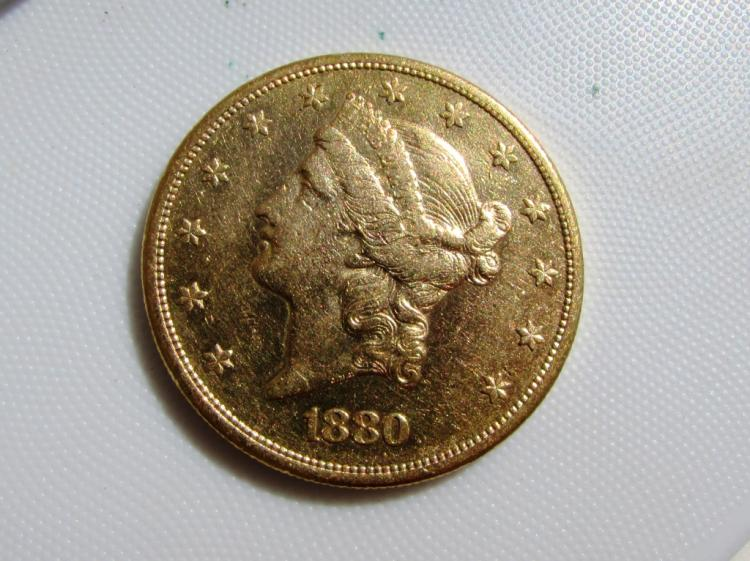1880 GOLD $20 COIN DOUBLE EAGLE LIBERTY HEAD