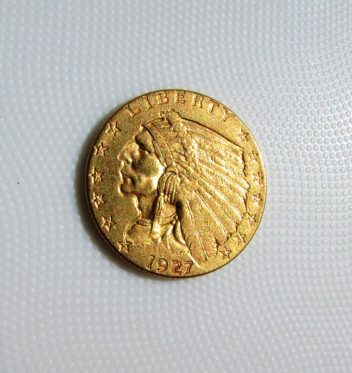 1927 $2.5 GOLD COIN INDIAN HEAD QUARTER EAGLE UNC.