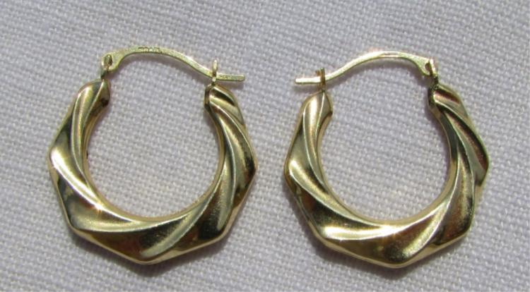 GENUINE 14K YELLOW GOLD EARRINGS TWIST PIERCED