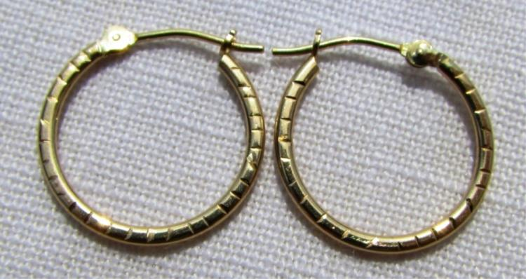 GENUINE 10K YELLOW GOLD EARRINGS PIERCED HOOPS