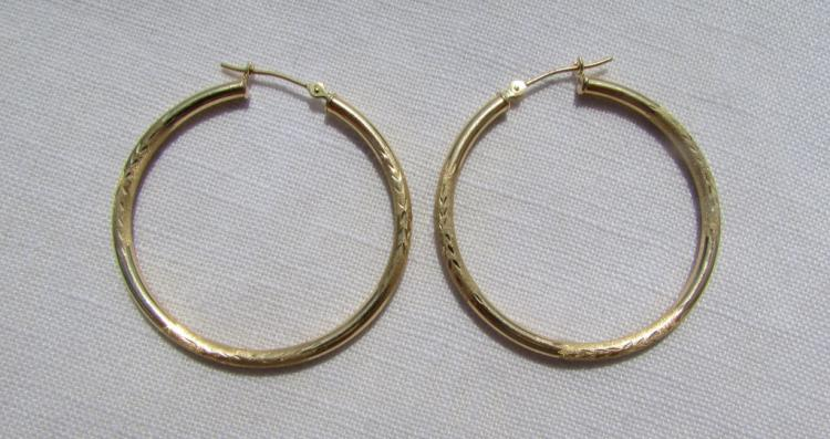 GENUINE 10K YELLOW GOLD EARRINGS HOOP PIERCED