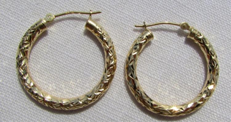 10K YELLOW GOLD EARRINGS DIAMOND CUT HOOP PIERCED