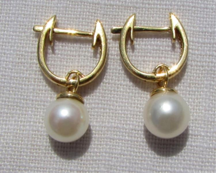 14k GOLD PEARL EARRINGS HUGGIE HOOP PIERCED DANGLE