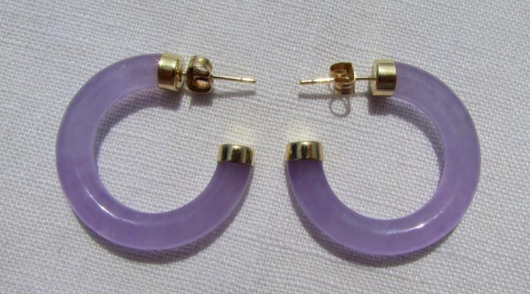 14k GOLD JADE EARRINGS LAVENDER VITREOUS TRANSLUCE