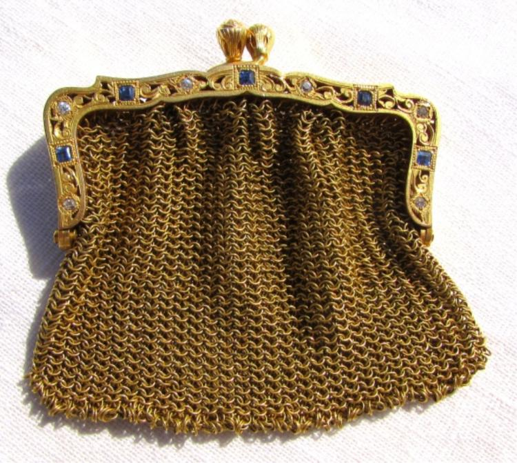 DIAMOND SAPPHIRE 14k GOLD PURSE COIN BAG 28.5 GRAM