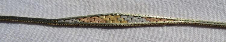 14k GOLD BRACELET TRI-COLOR WOVEN LINK CHAIN