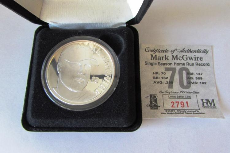 SILVER COIN MINT .999 1 OZ T MARK MCGWIRE BASEBALL