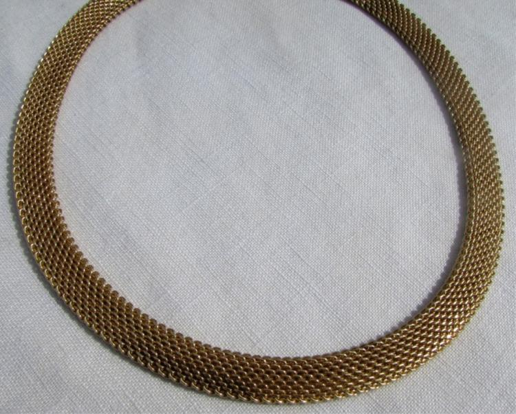 14K GOLD WOVEN LINK CHAIN NECKLACE WEAVE 61 GRAMS