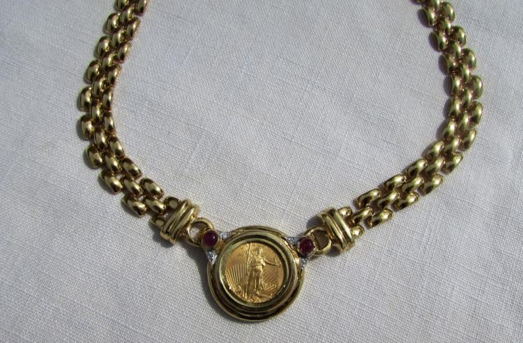 $5 GOLD COIN RUBY DIAMOND NECKLACE 14k 2014