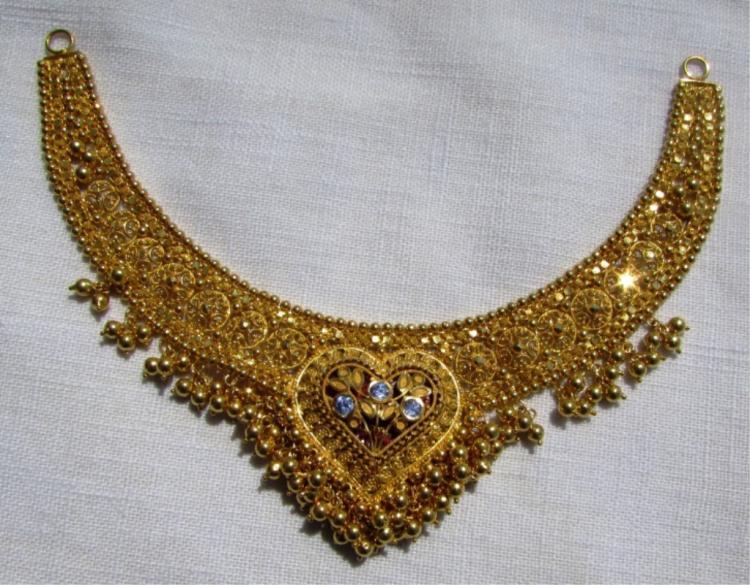 22k GOLD SAPPHIRE NECKLACE PENDANT 24.7 GRAMS