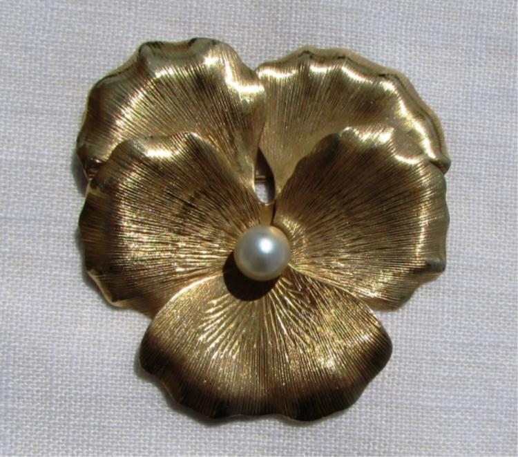 14k GOLD PEARL NAPIER PANSY PIN BROOCH FLORAL 12GR