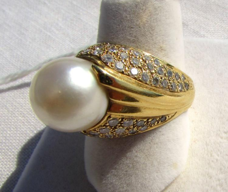 11.5MM PEARL & 2CT DIAMOND RING 14K GOLD 15.3GRAM