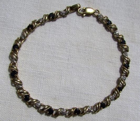 1CT SAPPHIRE DIAMOND 10k GOLD BRACELET