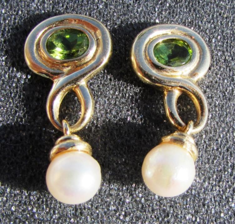 1.50CT PERIDOT 6mm PEARL 14k GOLD EARRINGS