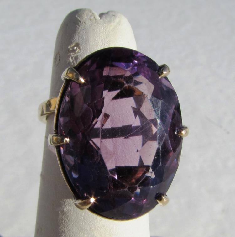 21CT AMETHYST 14k YELLOW GOLD RING 9.3 GRAM