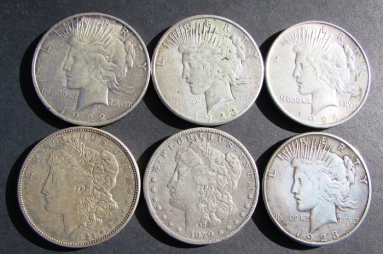 6 PEACE DOLLARS SILVER 1879-1924