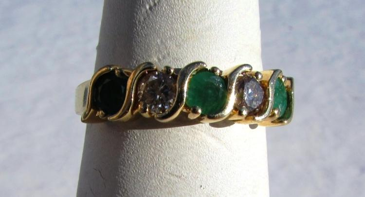 .75CT EMERALD .40CT DIAMOND 14k GOLD RING BAND