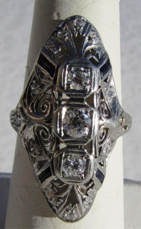 PLATINUM SAPPHIRE DIAMOND RING FILIGREE ANTIQUE