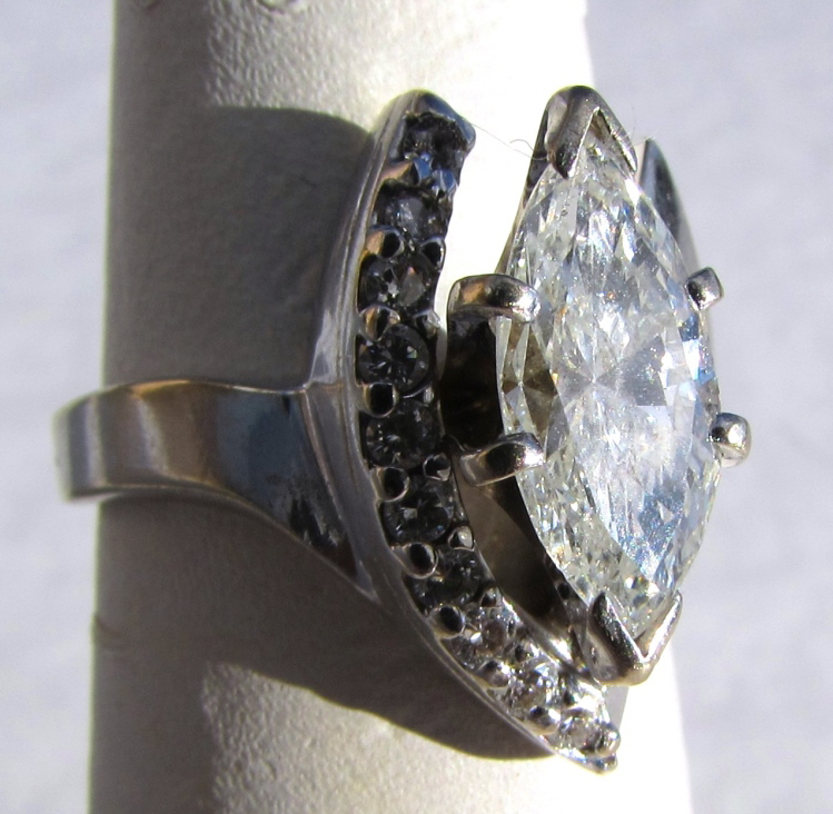 1.75CT DIAMOND 14k GOLD RING MARQUISE 1.5 SOLITARE