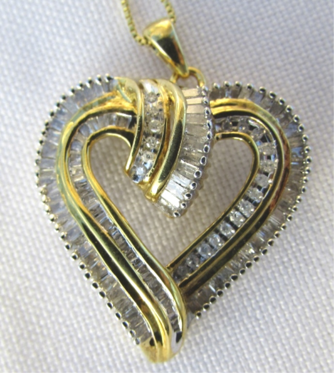 1CT DIAMOND HEART PENDANT NECKLACE GOLD ON SILVER
