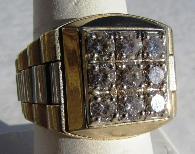 2.25 CT ROLEX DIAMOND 14k GOLD MAN'S RING 19 GRAMS