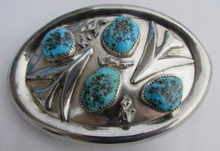 ZUNI GHAHATE TURQUOISE BELT BUCKLE STERLING SILVER