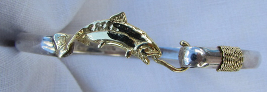 I.I. LTD 14k GOLD STERLING SILVER BRACELET FISHING